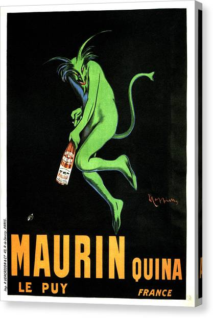 Grinch Canvas Print - Green Devil - Liqueur Le Puy Maurin Quina - Quina Aperitif - Vintage French Advertising Poster by Studio Grafiikka