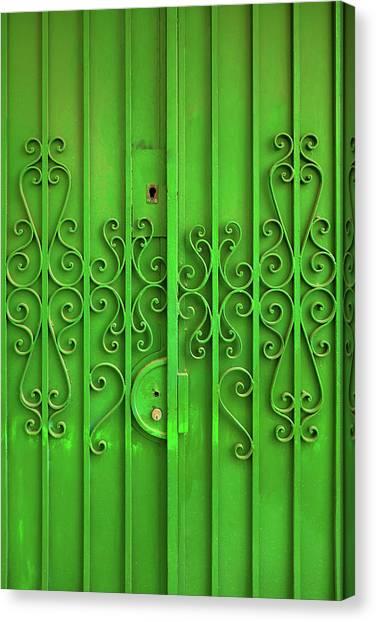 Rectangular Canvas Print - Green Door by Carlos Caetano