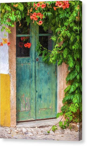 Green Door With Vine Canvas Print