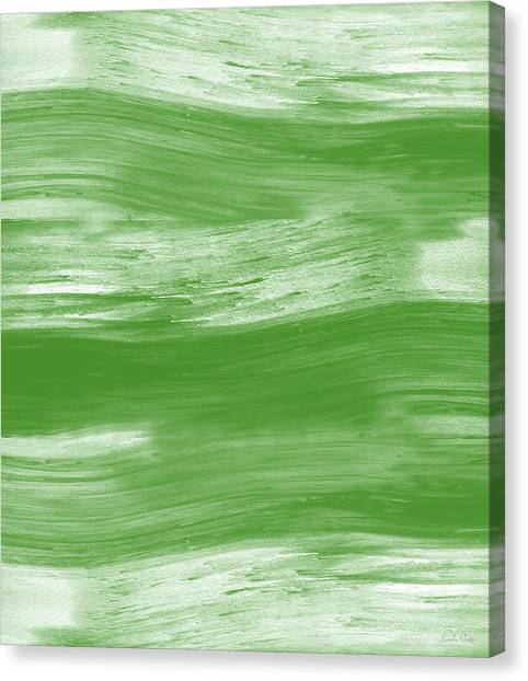 Soothing Canvas Print - Green Drift- Abstract Art By Linda Woods by Linda Woods