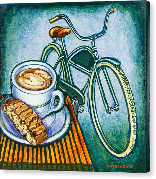 Green Electra Delivery Bicycle Coffee And Biscotti Canvas Print