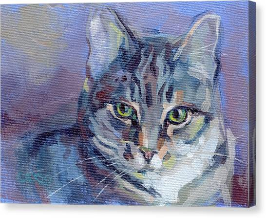 Lavendar Canvas Print - Green Eyed Tabby - Thomasina by Kimberly Santini