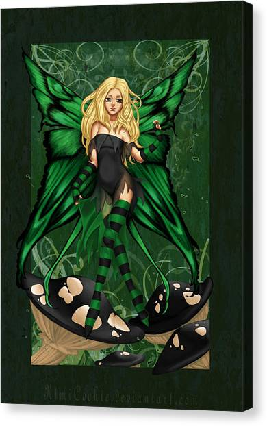 Green Fairy Of Poison Canvas Print by KimiCookie Williams