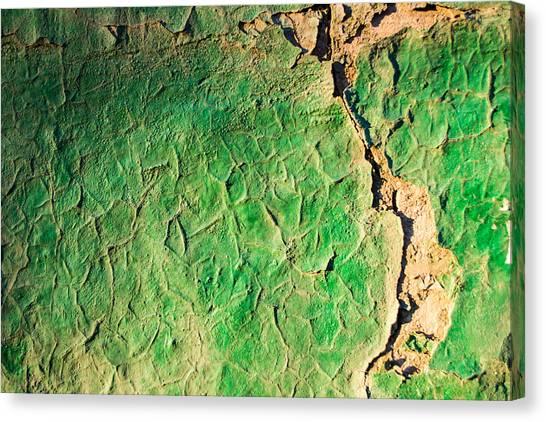 Green Flaking Brickwork Canvas Print