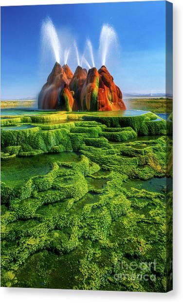 Black Rock Desert Canvas Print - Green Fly Geyser by Inge Johnsson