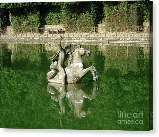 Green Fountain Canvas Print by David Shaffer