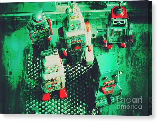 Droid Canvas Print - Green Grunge Comic Robots by Jorgo Photography - Wall Art Gallery
