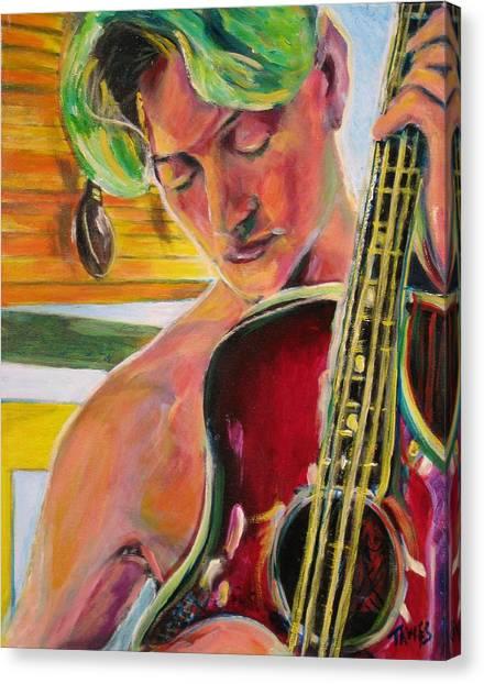 Green Hair Red Bass Canvas Print