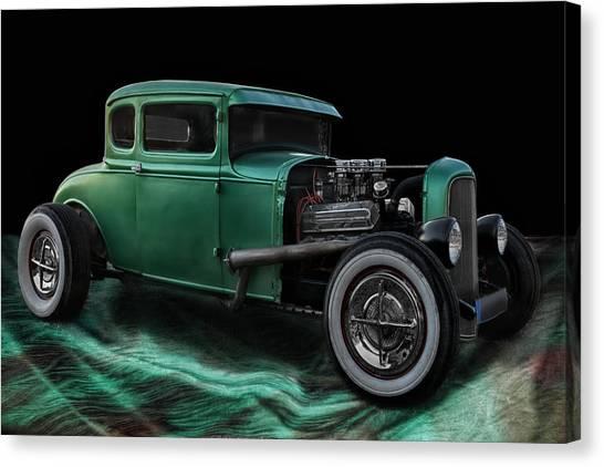 Old Hotrod Canvas Print - Green Hot Rod by Joachim G Pinkawa