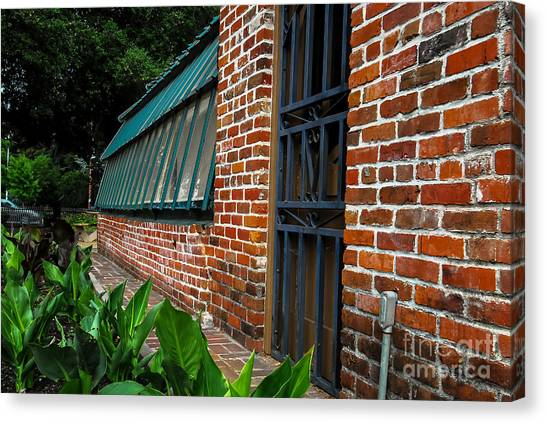 Green House Brick Wall Canvas Print