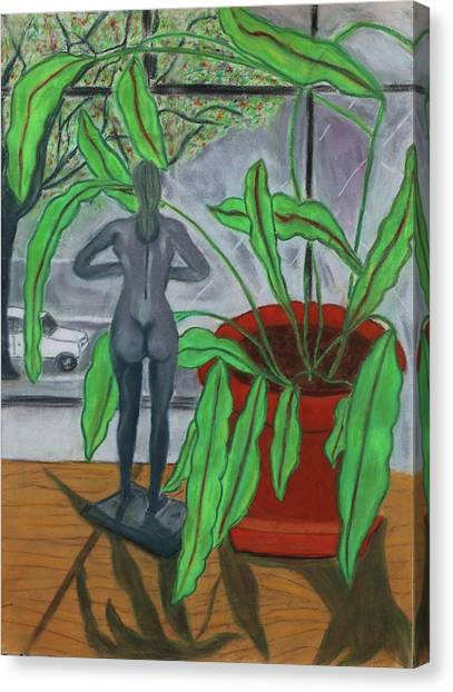 Green Lady Canvas Print by Eliezer Sobel