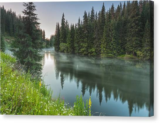 Lake Sunrises Canvas Print - Green Lake by Evgeni Dinev