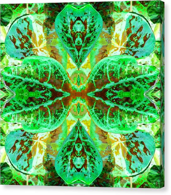 Canvas Print featuring the photograph Green Leafmania 3 by Marianne Dow