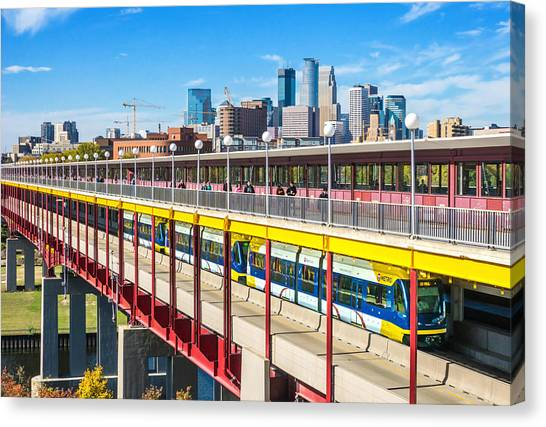 University Of Washington Canvas Print - Green Line Light Rail In Minneapolis by Jim Hughes