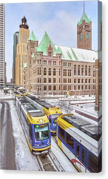 Light Rail Canvas Print - Green Line Train Leaves Minneapolis City Hall by Jim Hughes
