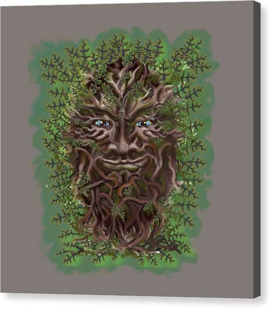 Canvas Print featuring the painting Green Man Of The Forest by Thomas Lupari