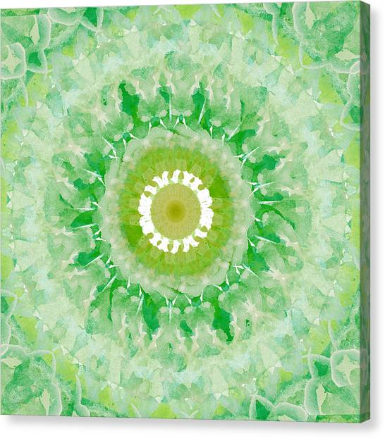 Fractal Canvas Print - Green Mandala- Abstract Art By Linda Woods by Linda Woods