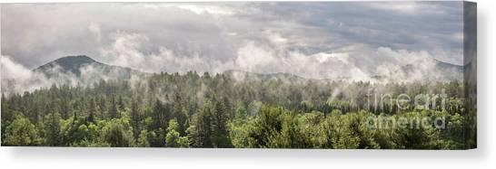Green Mountains Fog Panoramic Canvas Print