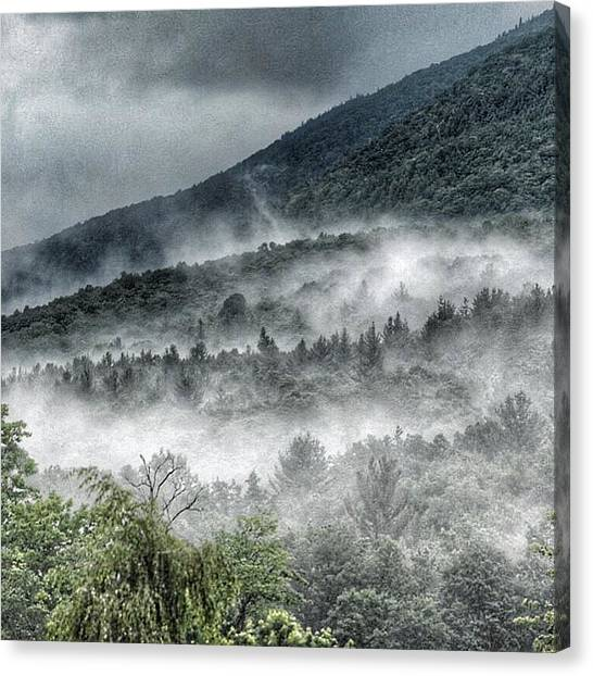 Green Mountains With Fog Canvas Print
