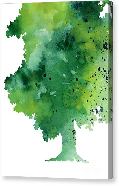 Trees Canvas Print - Green Oak Fine Art Print by Joanna Szmerdt