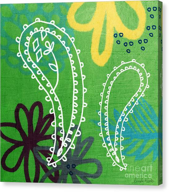 Green Canvas Print - Green Paisley Garden by Linda Woods