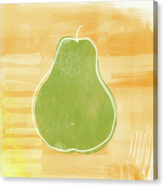 Pears Canvas Print - Green Pear 2- Art By Linda Woods by Linda Woods