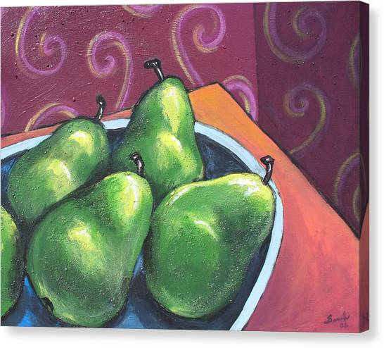 Green Pears In A Bowl Canvas Print
