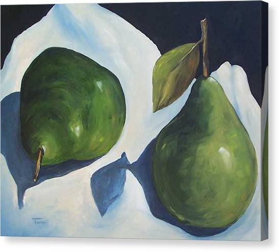 Green Pears On Linen - 2007 Canvas Print by Torrie Smiley