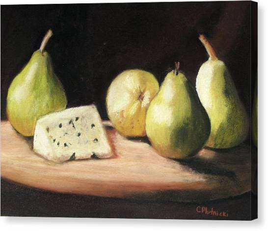 Green Pears With Cheese Canvas Print