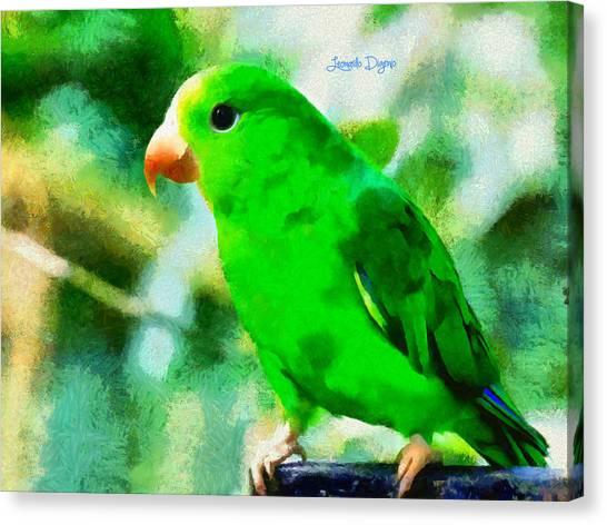 Parrot Canvas Print - Green Periquito by Leonardo Digenio
