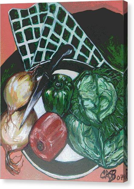 Green Plate Of Cabbage Soup Canvas Print by Clara Spencer