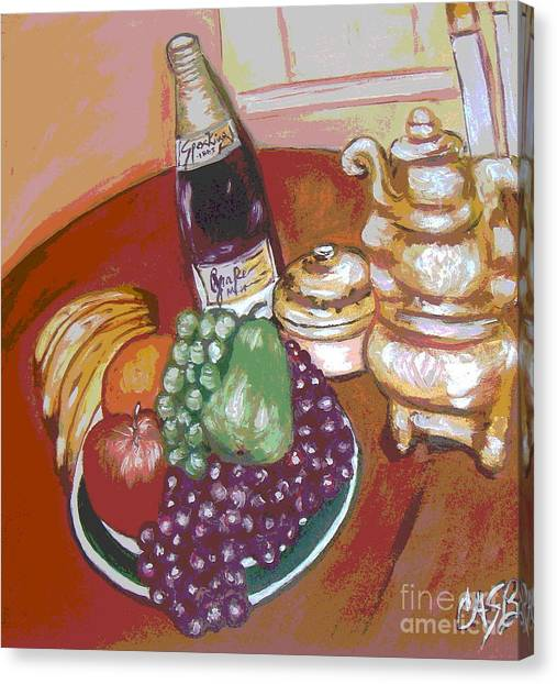 Green Plate Of Fruit Canvas Print by Clara Spencer