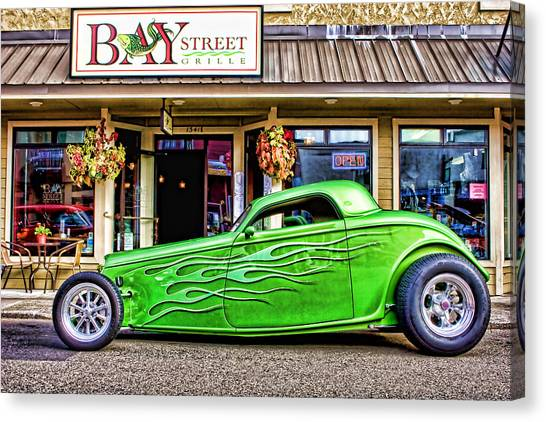 Old Hotrod Canvas Print - Green Roadster by Carol Leigh