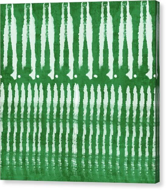 Tie-dye Canvas Print - Green Shibori 1- Art By Linda Woods by Linda Woods