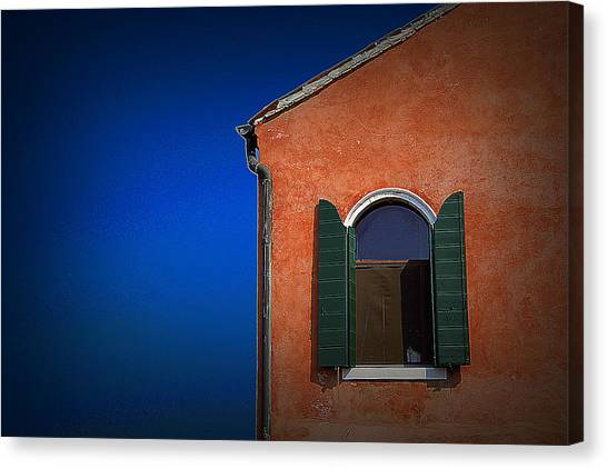 Green Shutters Canvas Print by James Zuffoletto