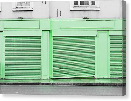 Brick Sidewalks Canvas Print - Green Shutters by Tom Gowanlock