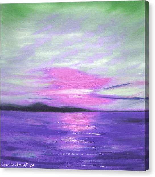 Green Skies And Purple Seas Sunset Canvas Print