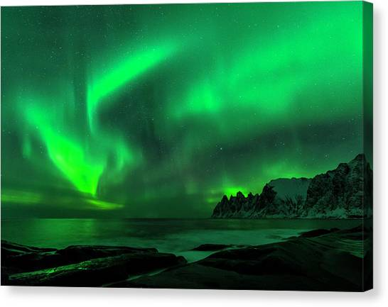 Green Skies At Night Canvas Print