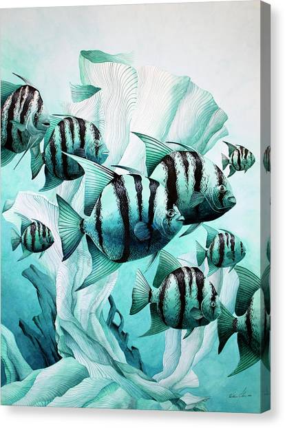 Green Spades Canvas Print