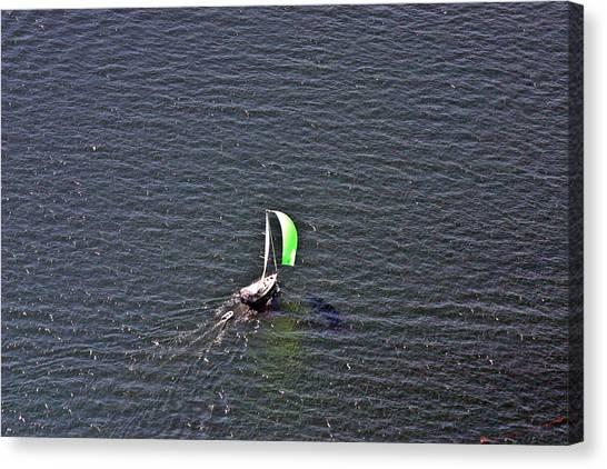 Jibbing Canvas Print - Green Spinnaker Sailing 2 by Duncan Pearson