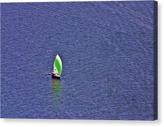 Jibbing Canvas Print - Green Spinnaker Sailing by Duncan Pearson