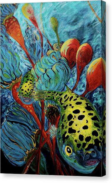 Green Spotted Puffer Canvas Print