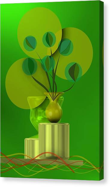 Green Still Life With Abstract Flowers, Canvas Print