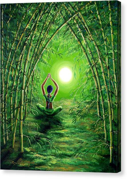 Hinduism Canvas Print - Green Tara In The Hall Of Bamboo by Laura Iverson