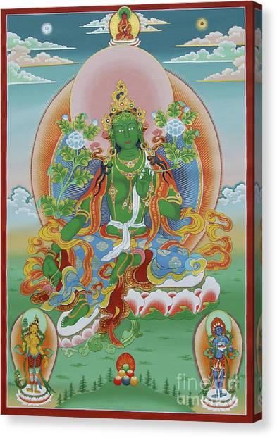 Green Tara With Retinue Canvas Print