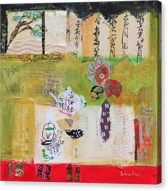 Tea Pot Canvas Print - Green Tea by Sylvia Paul