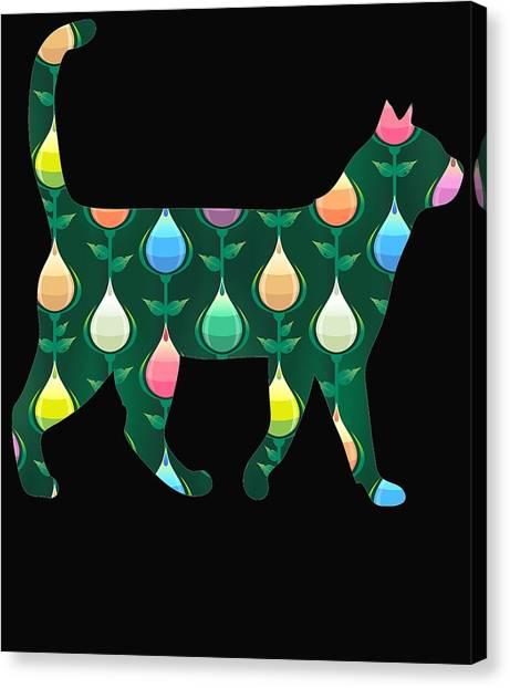 Ocicats Canvas Print - Green Teardrop Cats by Kaylin Watchorn