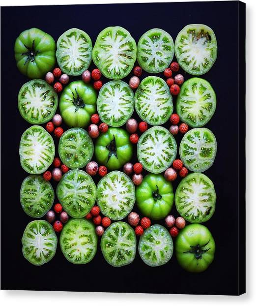 Green Tomato Slice Pattern Canvas Print