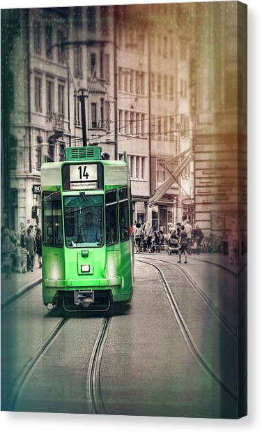 City Centre Canvas Print - Green Tram In Basel Switzerland by Carol Japp