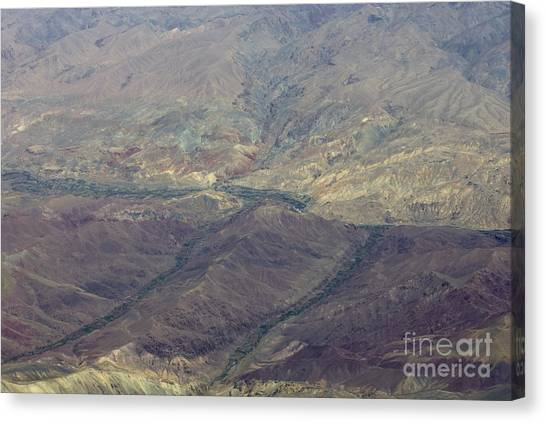 Green Valleys In Red Hills Canvas Print by Tim Grams